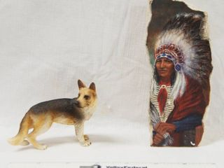 German Shepherd Figurine and Indian Images on Stone