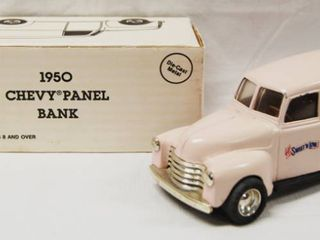 1950 Chevy Panel Bank   Sweet n low  with locking Coin Bank   Die Cast Metal