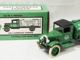 1931 Hawkeye Tanker  Shamrock  Truck  with locking Coin Bank w  Key   Die Cast Metal
