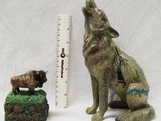 Buffalo Trinket little Holder and Wolf Figurine