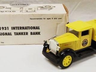 1931 Signal International Tanker Bank Truck  with locking Coin Bank w  Key