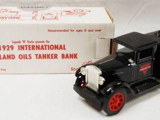 1929 International Marland Oil Tanker Bank Truck   locking Coin Bank w  Key  Die Cast Metal