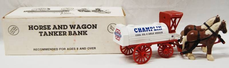 Horse and Wagon Tanker Bank  CHAMPlIN  locking Coin Bank w  Key  Die Cast Metal