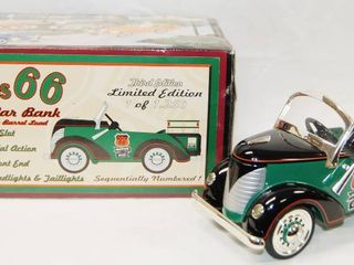 Phillips 66 Green Pedal Car Bank  Motor Oils  with locking Coin Bank w  Key  Die Cast Metal