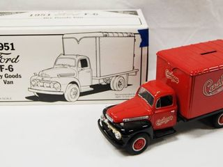 1951 Ford F 6 Dry Goods Van  with locking Coin Bank w  Key  Die Cast Metal