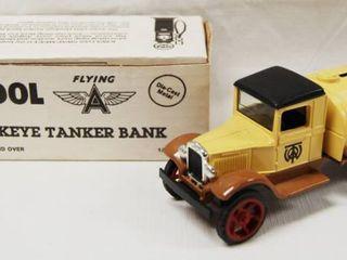 Tudol 1931 Hawkeye Tanker Truck  with locking Coin Bank w Key   Die Cast Metel