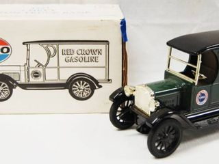 1923 Chevy 1 2 Ton Truck Bank  AMOCO Red Crown Gasoline  with locking Coin Bank w Key   Die Cast Metal