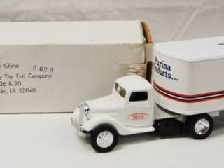 Collectible Purina Products Semi Truck  Coin Bank   Die Cast Metal