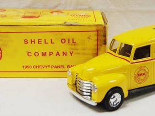 1950 Chevy Panel Bank  Shell Oil Company  with locking Coin Bank