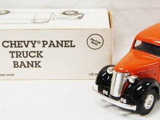 1938 Chevy Panel Truck Bank  w locking Coin Bank w  Key  Die Cast Metal