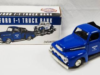 1951 Ford F 1 Truck Bank  with locking Coin Bank  w  Key  Die Cast Metal