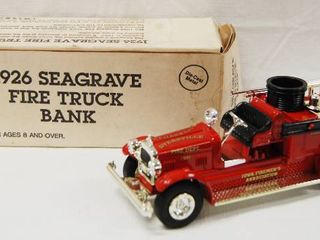 1926 Seagrave Fire Truck Bank  with locking Coin Bank w  Key   Die Cast Metal