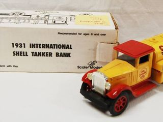 1931 International Shell Tanker Bank  with lockable Coin Bank  Die Cast Metal