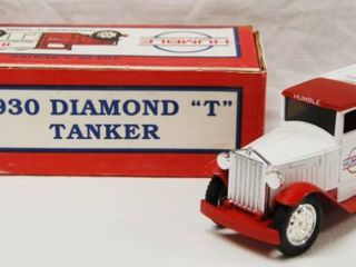 1930 Diamond  T  Tanker Truck  Humble  with lockable Coin Bank   Die Cast Metal