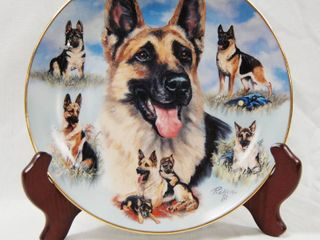 limited Edition  Noble German Shepherd Plate w  Stand  loving  Noble  and True  Plate   9865A The Bradford Exchange 2003
