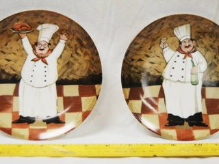 2 Kitchen Decor  Plates w  a Chef on each of them   2003 Boston Warehouse Trading Corp