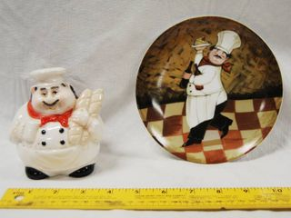 Kitchen Sink Sponge Chef Holder  and a Kitchen Chef Plate  2003 Boston Warehouse Trading Corp
