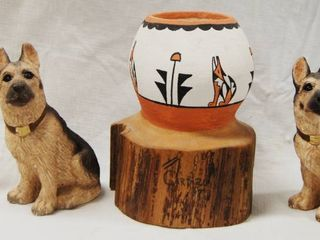 2 German Shepherd Figurines  Stone Critters  and a Wood Western Pencil and Pen Holder