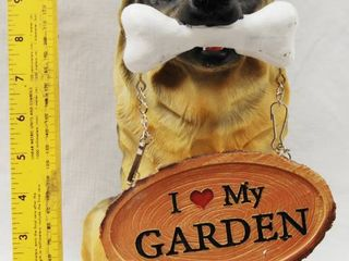 German Shepherd Decor  w  a Bone in the Mouth and Holding a Sign that Says  I love My Garden