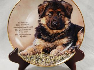 limited Edition  German Shepherd Plate w  Stand  Pawprints on My Heart  Plate   J1446 The Danbury Mint