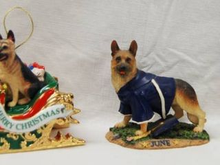 2 German Shepherd Christmas Ornament and a Figurine  month   June The Danbury Mint Collection