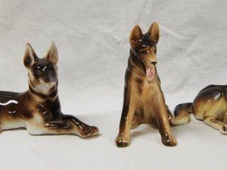 3 Vintage German Shepherd Figurines