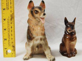 2 Vintage German Shepherd Figurines