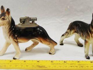 2 Vintage German Shepherd Figurines  one is a lighter  See Photo