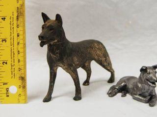 2 Metal German Shepherd Figurines