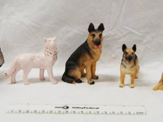 lot of 6 German Shepherd Figurines  Collectible  REAllY COOl