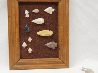 Picture Frame w  Collectible Arrow Heads  and a Small Gun Trinket