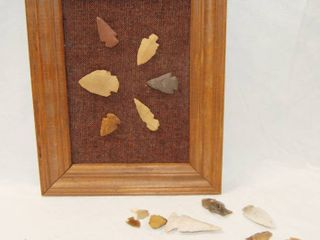Picture Frame w  Collectible Arrow Heads  and a lot of Arrow Heads