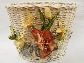 White Wicker Flower Basket  Could Be Used as a Trash Can or Put a Beautiful Plant in it