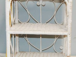 White Wicker Shelf  Could Also Be Painted to Match Any Decor