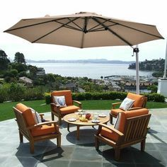 SimplyShade 12 5 ft Octagon Khaki with Platinum Aluminum Frame Push Button Tilt Offset Patio Umbrella and Base