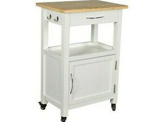 White Wood Veneer Rolling Cart Kitchen Storage Island Multi purpose 34 X 22 X 16