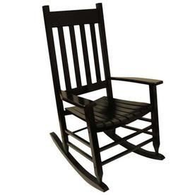 Garden Treasures Painted Black Wood Slat Seat Outdoor Rocking Chair