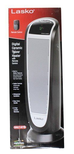 lasko CT22766 1500W Ceramic Tower Indoor Heater Black