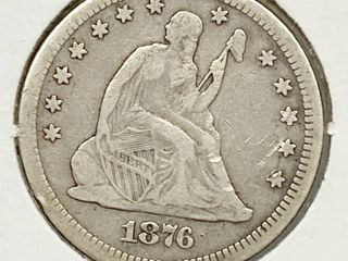 1876 CC Seated liberty Silver Quarter Dollar