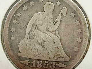 1853 Seated liberty Silver Quarter Dollar   Wow