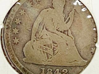 1842 O Seated liberty Silver Quarter Dollar