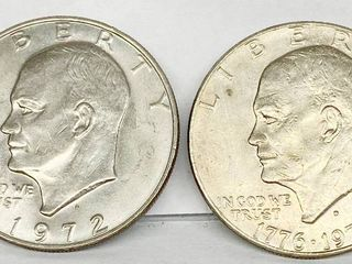 lot of 2   1972 D   1776 1976 D Eisenhower Dollar Coins