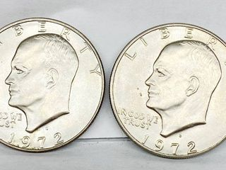 lot of 2   1972 D   1972 D Eisenhower Dollar Coins