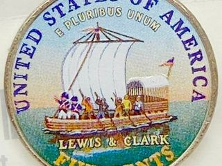 2004 Hand Painted lEWIS   ClARK Jefferson Five Cents   Colorized Keelboat