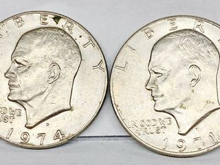 lot of 2   1971   1974 Eisenhower Dollar Coins