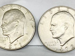 lot of 2   1971 D   1972 D Eisenhower Dollar Coins