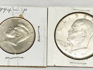 lot of 2   1994 P Kennedy Half Dollar   1974 D Eisenhower Dollar Coins