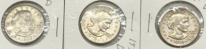 lot of 3   1979 D Susan B  Anthony Dollars