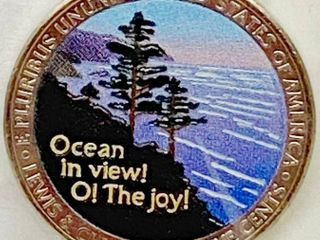 2005 Hand Painted Ocean in View  O  The Joey Jefferson Five Cents   Colorized Ocean View
