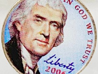 2006 Hand Painted In God We Trust  Monticello Jefferson Five Cents   Colorized Monticello
